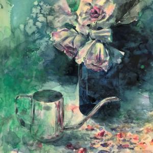 透明水彩画「薔薇とポットと私」