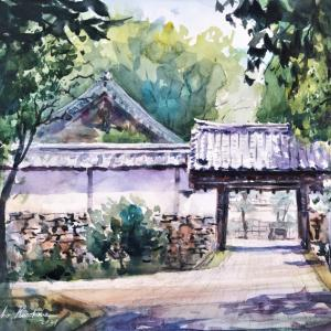 透明水彩スケッチ「滋賀院門跡にて」滋賀比叡山坂本スケッチ会