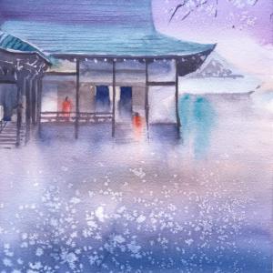 透明水彩スケッチ「春の祈り」(生源寺にて)滋賀比叡山坂本スケッチ会