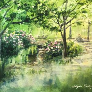 透明水彩スケッチ「六月のせせらぎ2」鶴見緑地