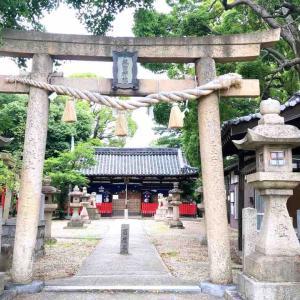 松原市別所 日本武尊を祀る『熱田神社』境内には珍しいキリシタン灯籠が残されていました