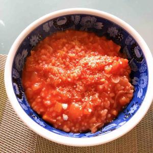 トマトジュースで簡単リゾットを作ってみました。トマトに含まれるリコピンでアンチエイジング&美容効果も!