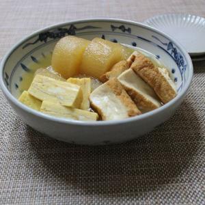 大根と絹厚揚げの煮物に玉子焼きを添えて&湯豆腐