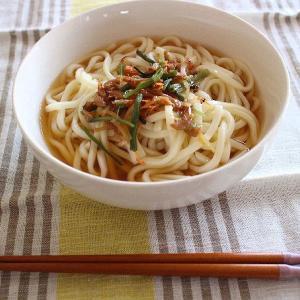 カルディの麺にかけるだけシリーズのつゆ・・・今日のランチは「桜えび生姜」つゆ