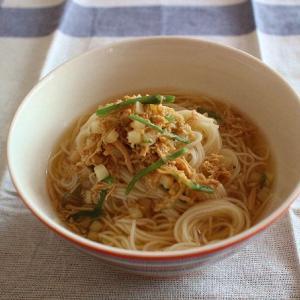 カルディの「鶏ゆず胡椒」を素麺にかけたランチ・・・イッタラ(オリゴ)のボウル