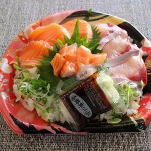 2種類の海鮮丼とおつまみ兼副菜