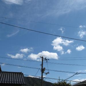 青空に白雲は秋の空/広島の空は大変綺麗です/2019/9/25 13:15の空の風景