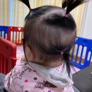 娘のヘアスタイリング(6ヶ月)