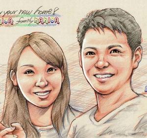 色鉛筆で描く家族の似顔絵