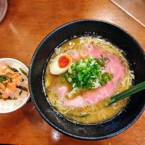 麺屋 はなぶさ:サービスランチ(鶏そばプレミアム+シャケ丼)名古屋コーチン100%スープは旨し!