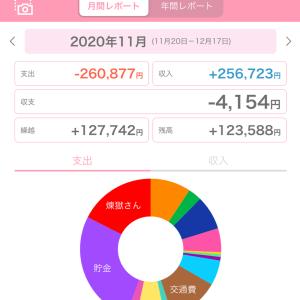 【2020年11月】家計簿△4,154。