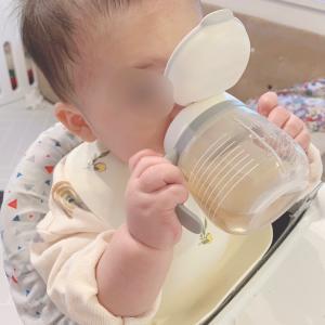 【離乳食後期前半】コップ飲みの練習中♡