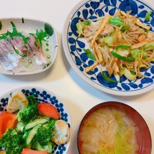 #肉野菜炒め #ボリューミー #お母さんの料理 #野菜炒め #今天的晚餐 #アジ刺身