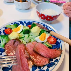 #晚餐 #ローストビーフ と #サラダ #鉄板キッチンcona #奈良県 #おうちご飯
