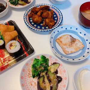 #今天的晚饭 #晩ご飯 #かじきまぐろの照焼き #おひたし #豆腐 #沙拉 #日式菜