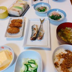 #晩ご飯 #さんまの塩焼き #浅漬け #ごはん #秋刀魚 #さんま #晚餐