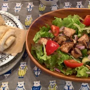 Lunch 鰹ガーリックソテーサラダと花巻