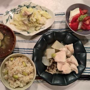 Dinner 豆おこわと治部煮