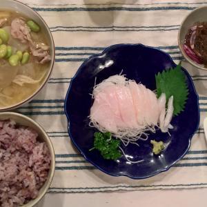 Dinner ウスバハギのお造りと豚汁
