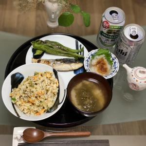高菜炒飯とさわらの焼き魚
