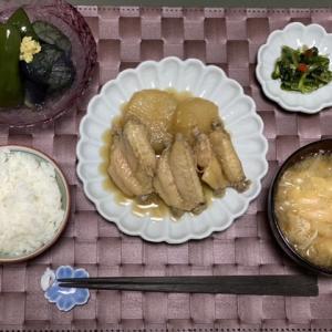 鶏手羽中と大根の煮物とある日のランチ
