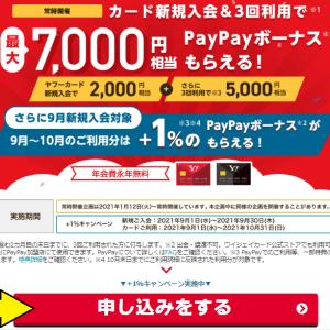【ヤフーカードが熱い!】9/17まで!年会費無料なのに計13,000~14,000円分の特典を簡単に貰えるぞ!