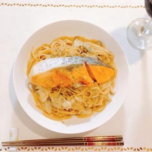 味噌クリームパスタ&鮭