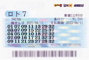 【6/7~6/11】 ロト7で3等!!!88万!!!がしかし…