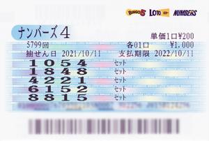 ★☆★ 当選報告 ★☆★ ナンバーズ4大当たりで562,500円ゲット!!!