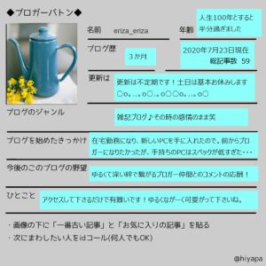 憧れの【ブロガーバトン】がついに私の手に!!!