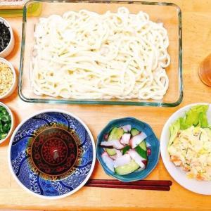 1週間献立①冷やしうどん献立、さっぱり美味しい簡単夕食は初めて作る夫のポテサラ。
