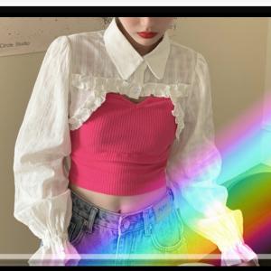 MumuInsデザインアップ‼️超可愛い2点セットアップシャツ