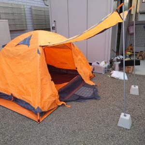 """DOD製のテント・タープポール(XP-01)をAmazonで購入した激安中国製テントと組み合わせてみた~ホームセンターで売っている""""あの石""""をポールの固定に使用~"""