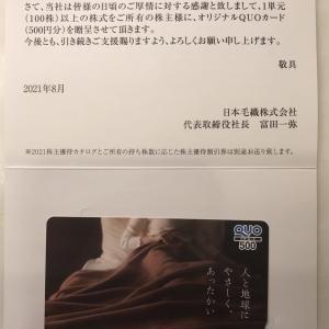 株主優待「日本毛織(3201 ニッケ)」からクオカード500円分が届きました。