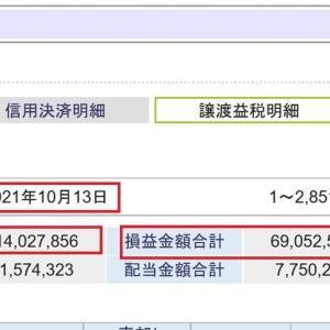 SBI証券での今年の売買利益6,900万円越え、納税額1,400万円越えとなりました。