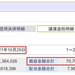 SBI証券での今年の売買利益7,000万円越え、納税額1,400万円越えとなりました。
