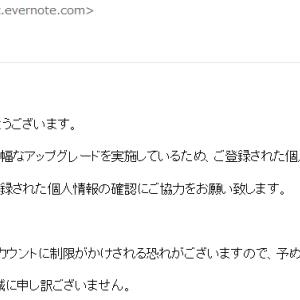 Evernoteを名乗る「【Evernote】個人情報の更新」にご注意を