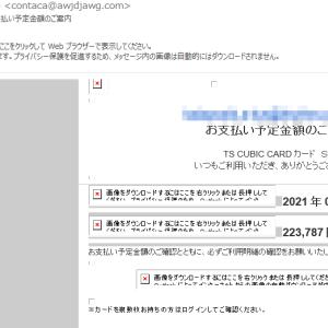 TS CUBIC CARDを名乗る「TS CUBIC CARDカード お支払い予定金額のご案内」にご注意を