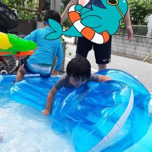 お友達のお家で水遊び☆彡