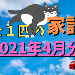 3人と猫1匹の家計簿【2021年4月分】ちょっと使い過ぎ・・・でも固定費は順調に削減!