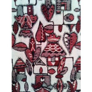 着物生地(381)抽象家屋・風景模様織り出し着物(アンサンブル)