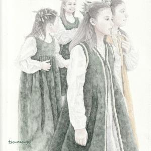 サン・ルフィーノ聖堂 オリーブ収穫祭の少女たち 絵画教室課題 #007
