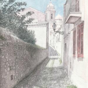 イタリア,エリチェの路地 絵画教室課題#002