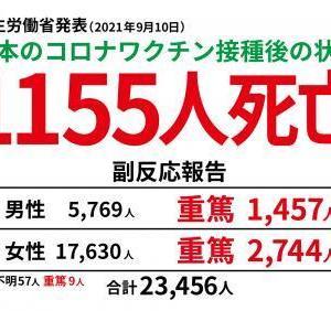 9月10日厚労省発表、接種後死亡者1,155名・重篤者4,201名