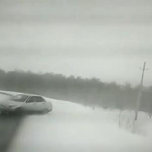 [動画0:08]雪道カーブで制御を失った車が突っ込んでくる瞬間