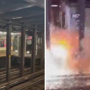 [動画0:40] 地下鉄の線路内に投げ込まれた自転車、衝突して大爆発!