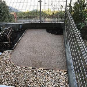 庭の模様替え②(植栽、水で固まる土)