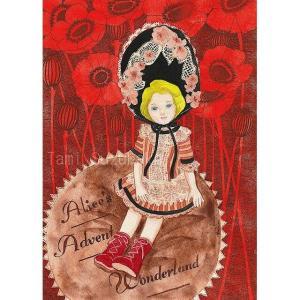 絵画販売・水彩画・原画「西洋人形と芥子の花」