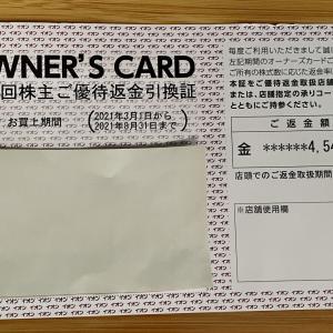 イオン(8267)の 第72回株主ご優待返金引換証が届きました。