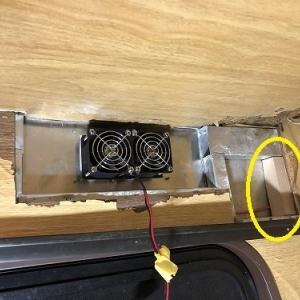 小型換気扇周りの、べニア板を作成